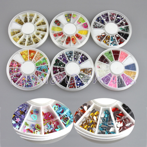 6 Wheels 3D Nail Decoration 12 Different Colors Rhinestone Decoration Glitter Decoration