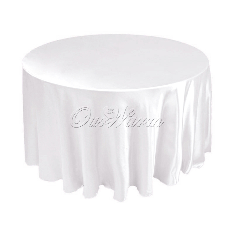 "DHL/EMS Free,10Pcs/lot 120"" Satin Table Cover White Black Round Tablecloth for Banquet Wedding Party Decoration(China (Mainland))"