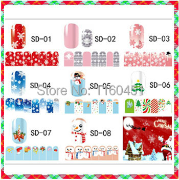 6 pcs/set 3D Nail Art Stickers Adhesive Christmas Sticker Nails Polish Decal Xmas Decoration(China (Mainland))