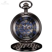 KS Antique Skeleton Blue Roman Numbers Dial Black Alloy Case Mechanical Hand Wind Male Necklace Clock Men Pocket Watch / KSP032(China (Mainland))