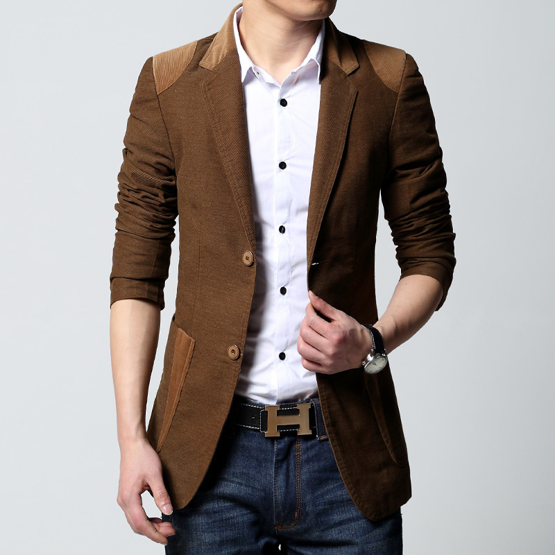 New 2015 suit men casual jacket terno masculino latest coat designs patch leather blazers men clothing pea coats M-4XL 5XL 6XL(China (Mainland))