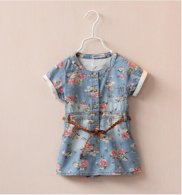 1147042 Wholesale New 2015 Summer Girls Floral Dresses Denim Casual Short Sleeve Girls Dress Printing Flowers Belt Clothes Lot<br><br>Aliexpress