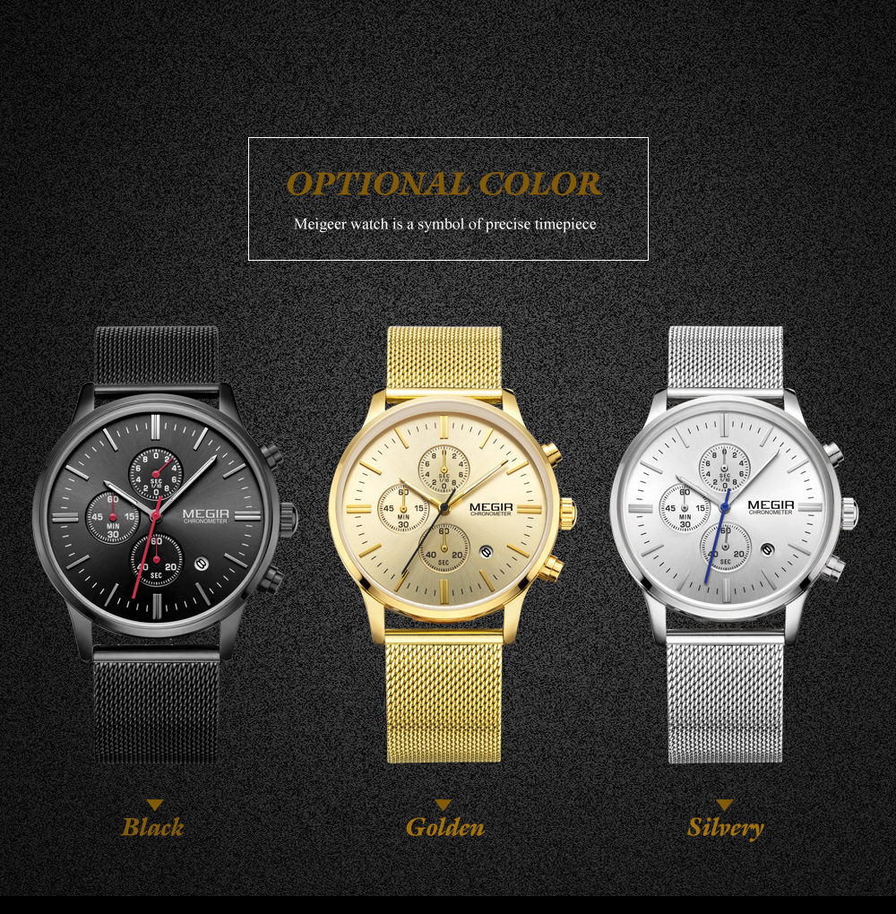MEGIR Мужчины Часы Из Нержавеющей Стали Сетка Ремешок Ремешок Водонепроницаемый Кварцевые Часы Сплошной Цвет Мода Простой Стильный Топ Люксовый бренд