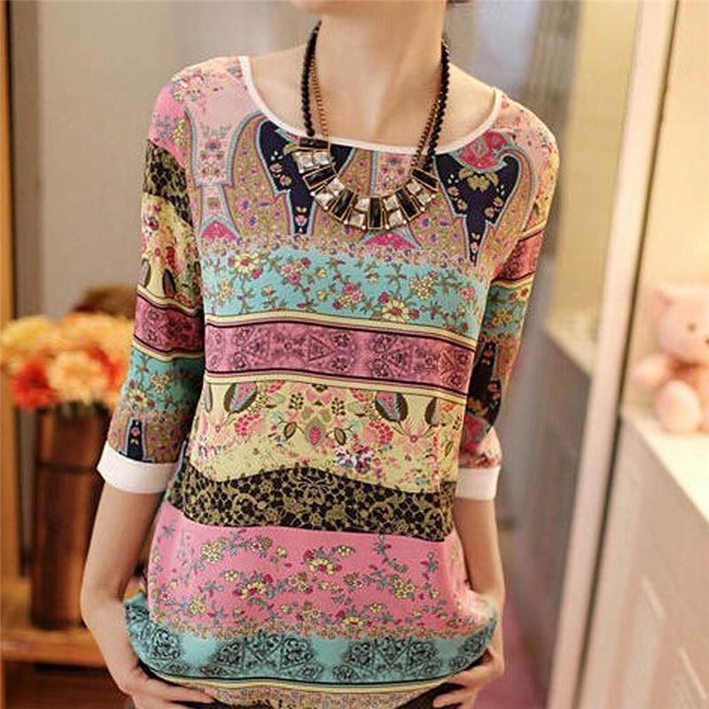 Women Blouses 2016 Summer Print Chiffon Blouse Casual O-neck Lace Three Quarter Puff Sleeve Shirt Blusas Tops Plus Size XXL(China (Mainland))