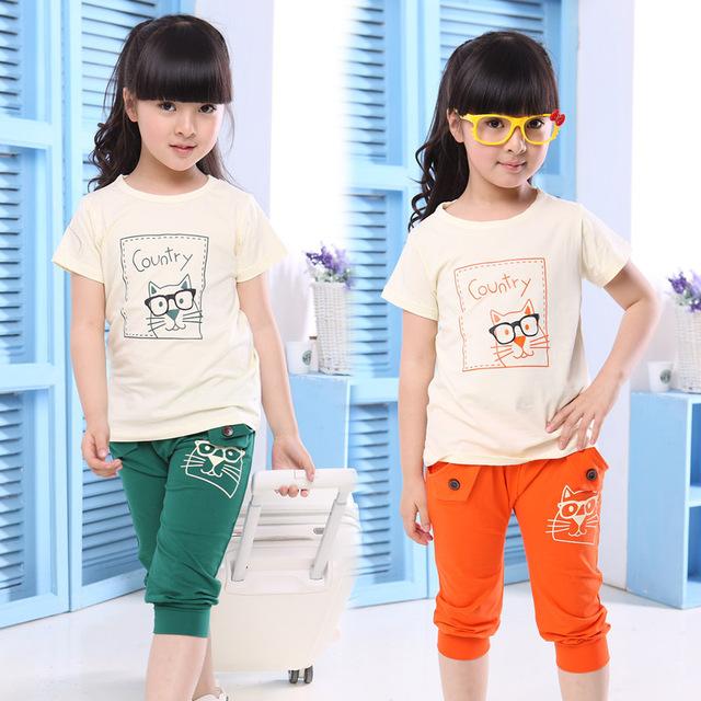 Девочек одежда устанавливает Летний стиль Хлопок спортивный костюм для девочек 2016 ...