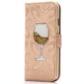 Wine Glasses Quicksand Liquid Glitter Wallet Case for iPhone 5S SE 6 6S Plus Luxurious Fashion