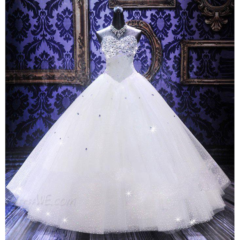 Sparkly vestido de noiva lace tulle 2016 ball gown wedding for White sparkly wedding dress