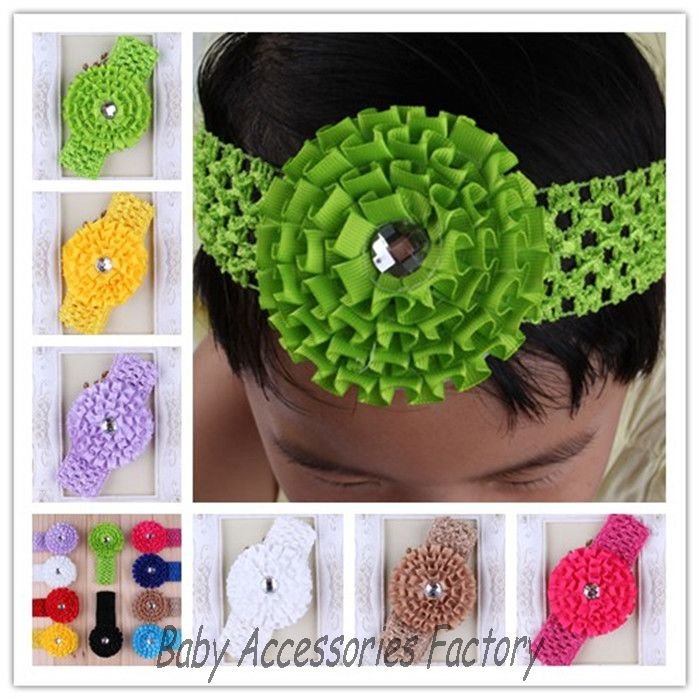 Boutique Baby Crochet Ribbon Flower Headbands With Acrylic Button Artificial Baptism Hairbands Newborn Headwear Hair Accessories(China (Mainland))