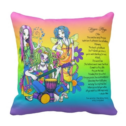Hot Case Musical Rainbow Hippie Fairy Poem Pillow Case (Size: 20