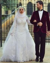 Arab Hijab Saudi Arabia Modest Muslim Wedding Dresses Long Sleeve Lace Beads Over Skirt Mermaid Bridal Gowns With Sleeves(China (Mainland))