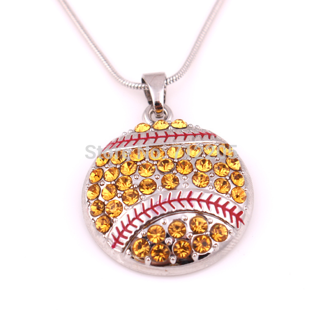 New product 10pcs zinc alloy studded with sparkling crystals Softball Pendant sports chain necklaces(China (Mainland))
