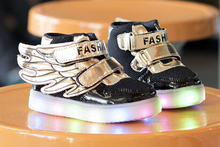 2015 fashion lighted angel wing baby sneakers hot sales cute children shoes casual candy color girls boys shoes kids shoes(China (Mainland))