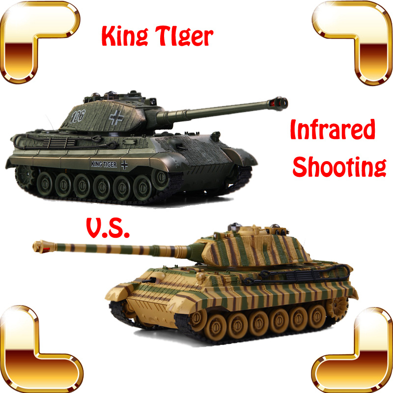 Фотография New Coming Gift COLLIDE German King Tiger War Tanks 8 Channel 1/24 RC Remote Control Tank Infrared Shoot Beat Game Electric Toys