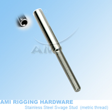 M6 R  5mm wire, T02-0506-01,Swage stud thread terminal,  stainless steel 316,  wire rope fittings. rigging hardware(China (Mainland))