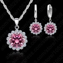 Wholesale Price Wedding Jewelry Set 925 Pure Silver Cubic Zircon Necklace Pendant/Earrings Fashionable Women Set(China (Mainland))