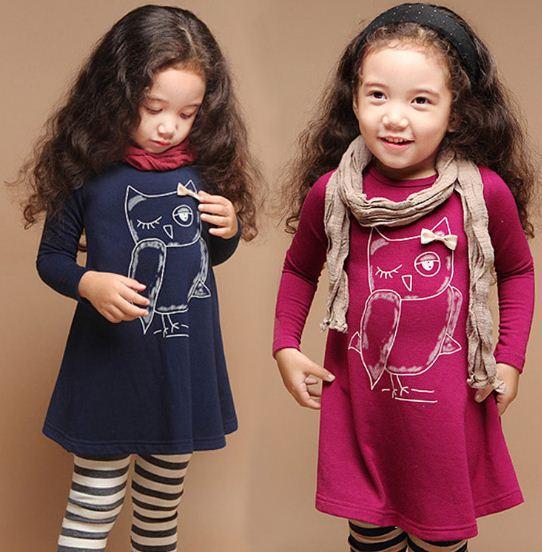 NEW fashion cotton girl dress long sleeves baby girl princess dress girls cartoon owl casual clothes(China (Mainland))