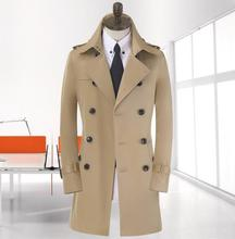 Blue khaki beige double breasted long black trench coat men british style pea coat cheap mens winter coats belt plus size 9XL(China (Mainland))