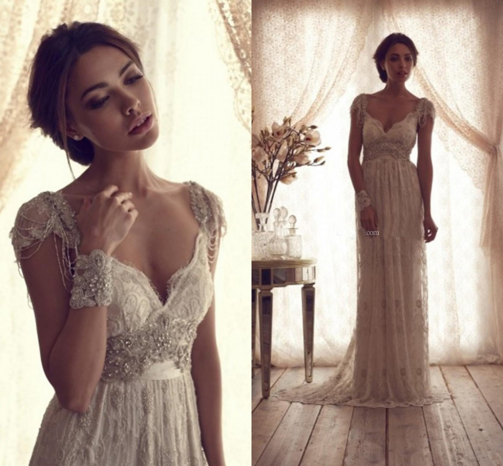high quality 2014 vintage wedding dresses sheer anna