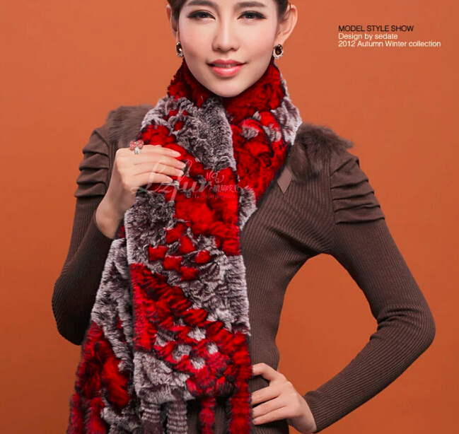 New hot luxury warmmer real rabbit fur scraf women comfortable muffler shawl winter outdoor suitable scraf free shopping(China (Mainland))
