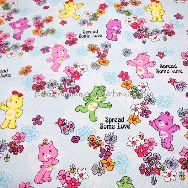 xa001 - 1 Yard SDLP Cotton Polyester Poplin Fabric - Care Bears and Flowers - Light Blue (W140)(China (Mainland))