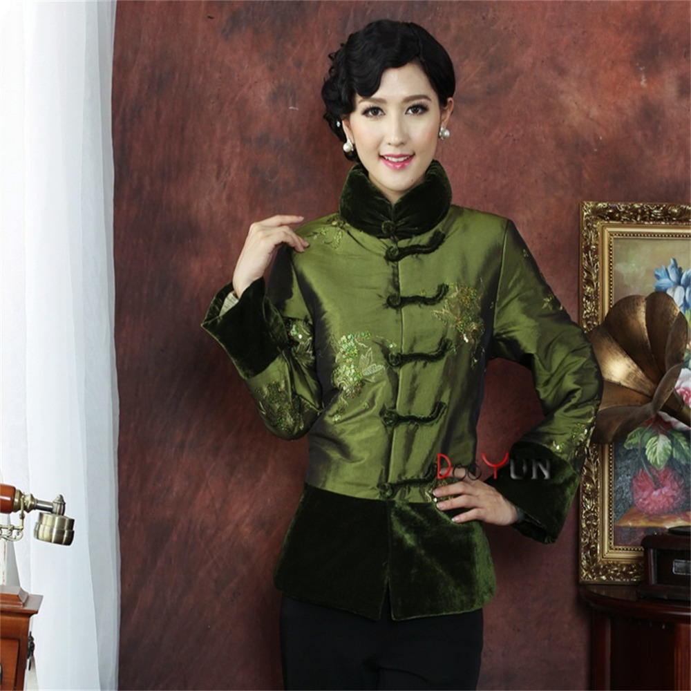 Green Chinese Tradition Middle-aged Womens Long sleeve Wadded Jacket Embroidery Tang Suit Outerwear M L XL XXL 3XL 4XLОдежда и ак�е��уары<br><br><br>Aliexpress