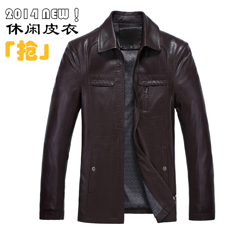 Free shipping 2015 spring and autumn zipper turn-down collar leather clothing casual outerwear men's leather clothing coat M-3XL(China (Mainland))