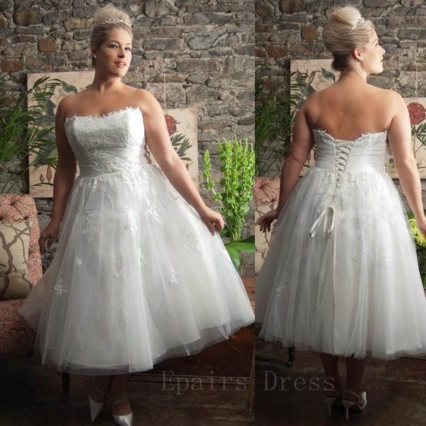 2014 elegant vintage strapless lace bodice tulle a line for Elegant tea length wedding dresses