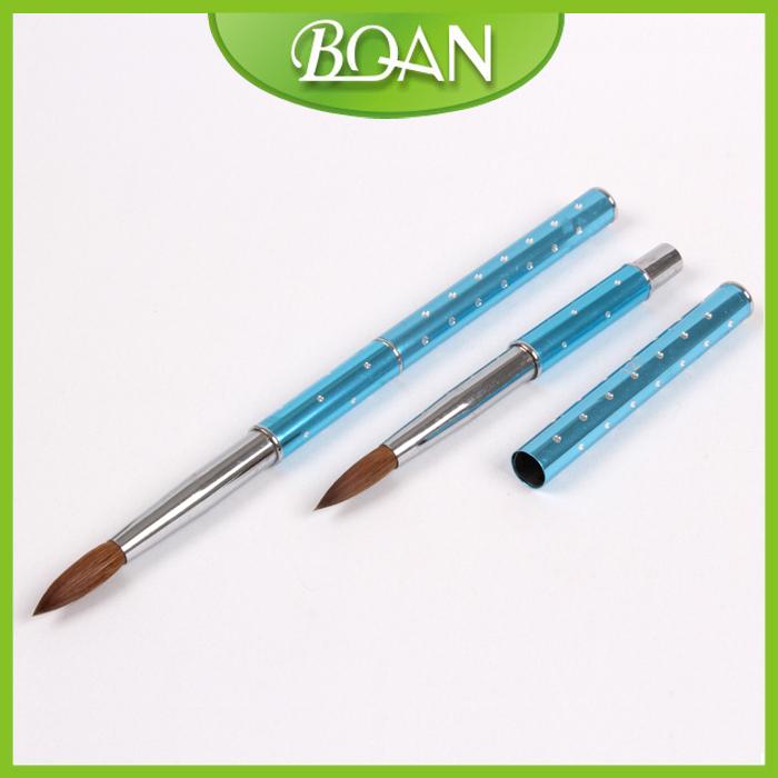10 Pcs #8 light blue acrylic nail brush kolinsky hair brush for Crystal Nail brush Free Shipping(China (Mainland))