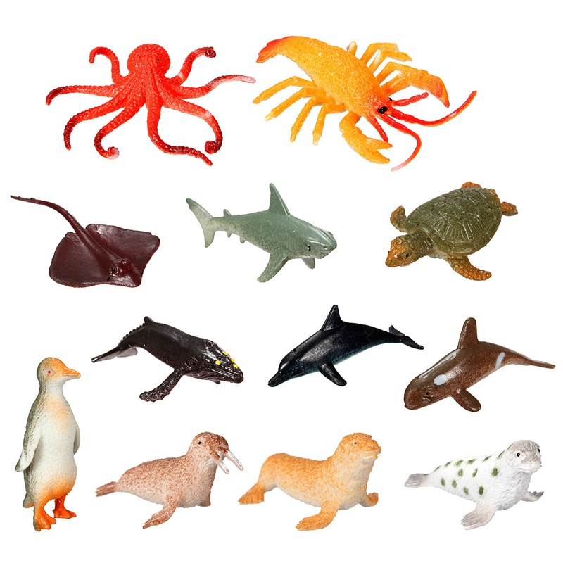 Brand New 12pcs/set Plastic Marine Animal Model Toy Figure Ocean Creatures Dolphin Kids Toy Best Model Gift For Children Kids(China (Mainland))