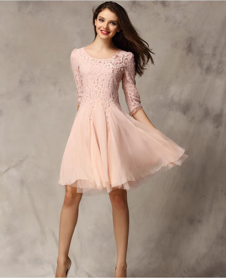 Women 3/4 Sleeve Lace Crochet Dress Slim Fit Tunic Evening Party ...