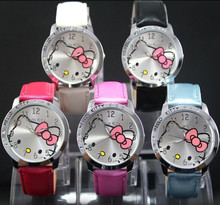 HelloKitty Clock Women Dress Watch Hello Kitty Cartoon Watches Quartz Pu Leather Watch Women Rhinestone Watches kids reloj mujer
