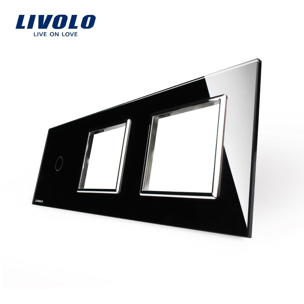 Гаджет  Free Shipping,  Livolo Luxury Black Crystal Glass, 222mm*80mm, EU standard, 1Gang &2 Frame Glass Panel, C701-11/C7-SR2/C7-SR2-G None Электротехническое оборудование и материалы