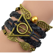 Vintage Harry Potter Owl Skeleton Wings Believe Heart Infinity Love bracelet,Leather Multilayer Braid Charm Bracelets & bangles(China (Mainland))
