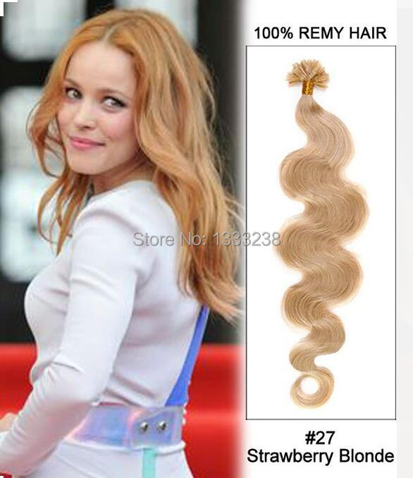 20inch#27 Strawberry Blonde Body Wave Nail Tip U Tip Human Remy Hair Keratin Hair Extensions100 strands 0.5g/ 0.8g/ 1g/strand
