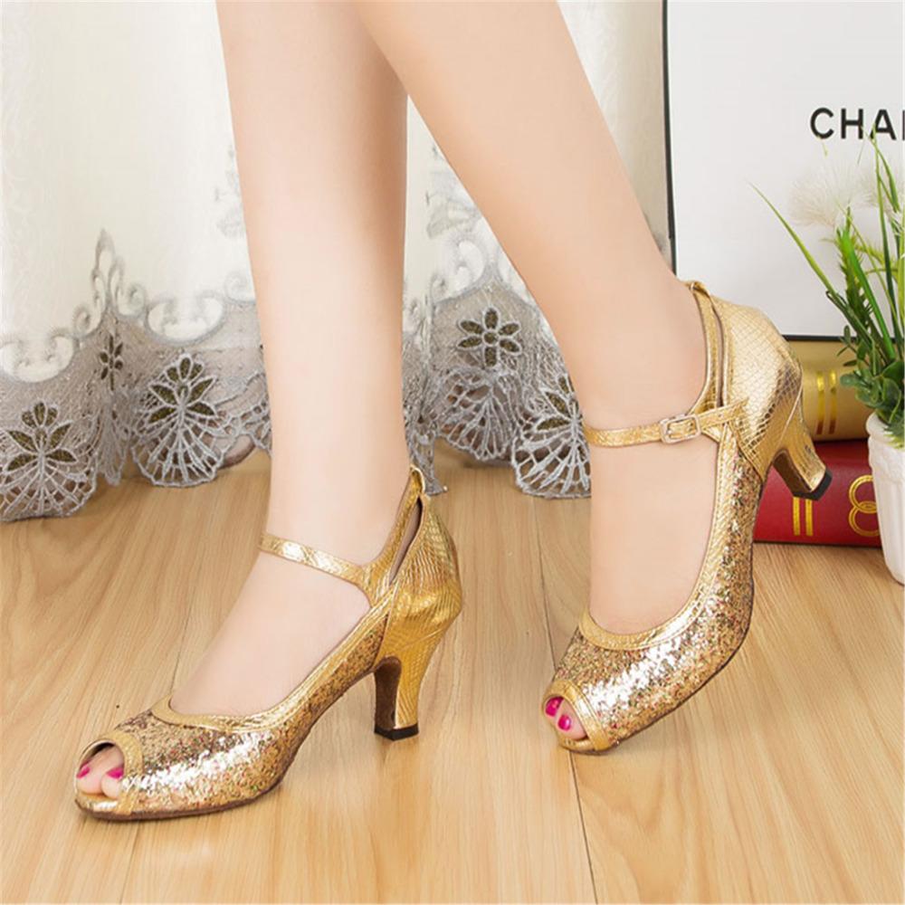 Customizable Fitness Peep Toe Med Heel Sequined Cloth Women's Ballroom Tango Latin Dance Shoes Gold Variegated