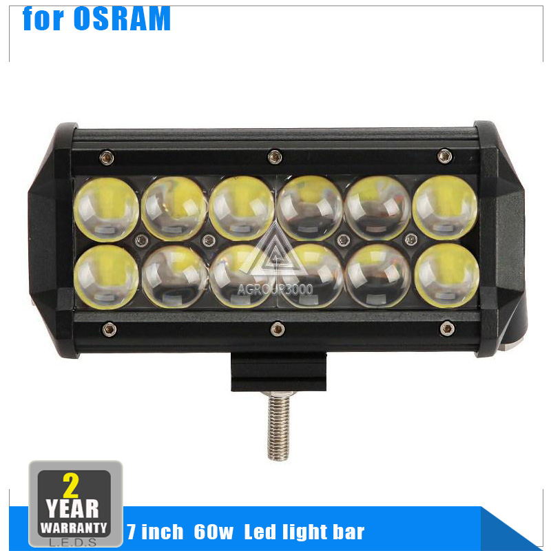7 inch OSRAM Chips 60W LED Light Bar4 SUV Truck Spot / Flood Beam Day Time Running Lamp Golf Offroad Driving Vehicle Boat(China (Mainland))