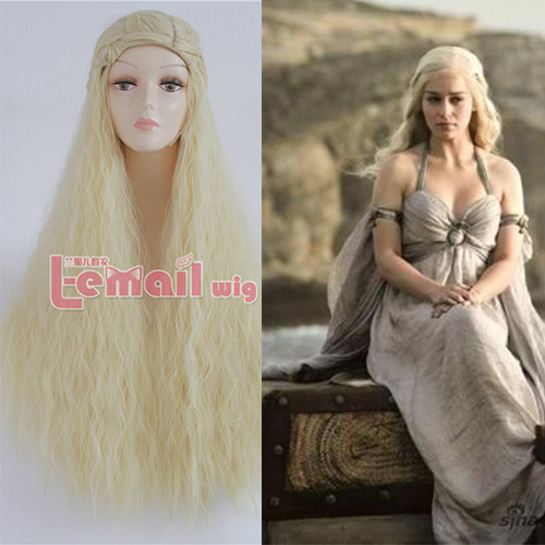 90cm Synthetic Long Blonde Game Thrones Daenerys Targaryen Cosplay Wig - L-email Store store