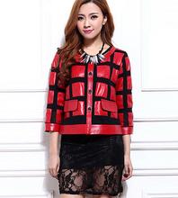 New Genuine Leather Jacket Cropped Short Patchwork o-neck Leather jacket M-3XL,RED BLACK(China (Mainland))