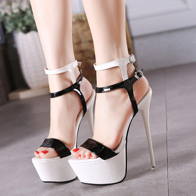 pu leather high heels sandals 16cm sexy stripper shoes summer shoes. Black Bedroom Furniture Sets. Home Design Ideas