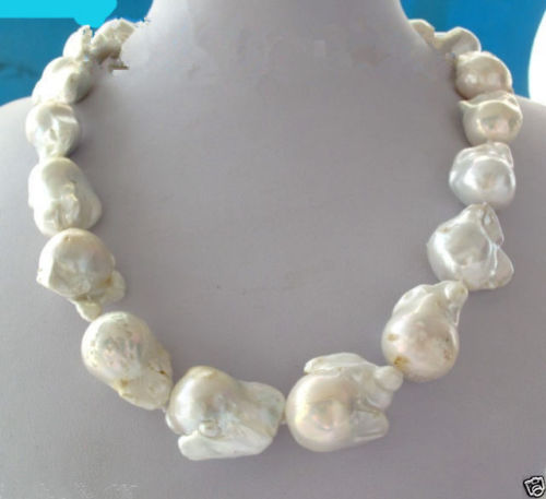 FREE shipping&gt; &gt;&gt;&gt;REAL AAA SOUTH SEA WHITE BAROQUE PEARL NECKLACE 18<br><br>Aliexpress