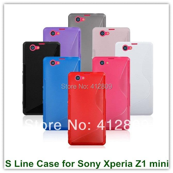 100PCS X S Line Cute Candy TPU Gel Skin Back Covers Case for Sony Xperia Z1 Compact Mini  L39h Mini Free Shipping