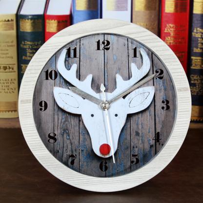 Vintage deer head shape wood alarm clock wood clock table clock white and green color(China (Mainland))