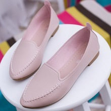 Women Flats 2016 Summer Style Casual Solid Pointed Toe Slip-On Flat Shoes Soft Comfortable Women Shoes Plus Size 35-40(China (Mainland))
