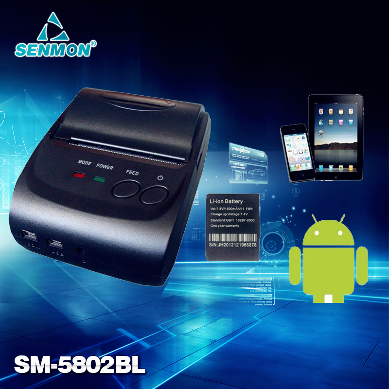 2Inch Standby Time 5~7 days Android Bluetooth 2.0 Wireless Mobile 58mm Mini Thermal Receipt Printer Portable with SDK