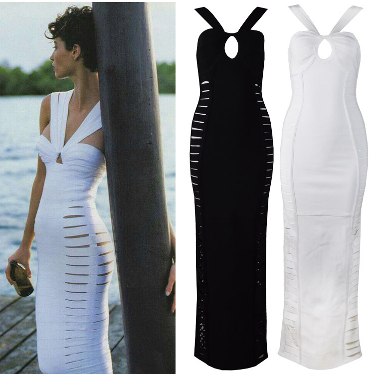 Celebrity bandage dresses 2014 Sexy & Club Hollow Spaghetti Strap V-Neck Mid-Calf Dresses White Black - Alice&Elmer Bandage Dress Co.,LTD store
