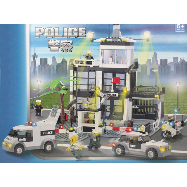 Without box Police Station Model kazi 6725 631pcs building blocks 3D DIY educational toys Children birthday gift Free Shipping