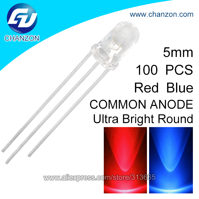 100pcs 5mm Transparent Round LED Red Blue Bi-Color Common Anode LED Light Emitting Diode Lamp(China (Mainland))