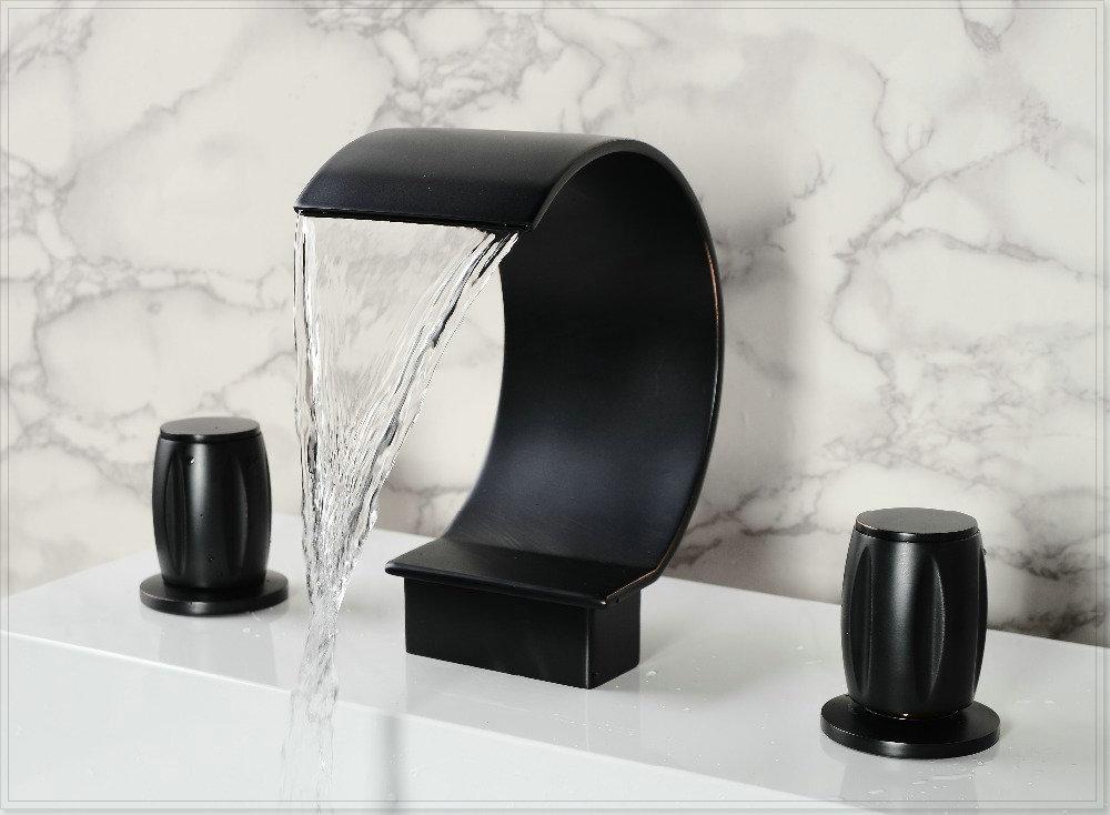 Waterfall bathroom basin faucet doubel handles bath sink faucet oil rubbed bronze vasos for for Oil rubbed bronze waterfall bathroom faucet