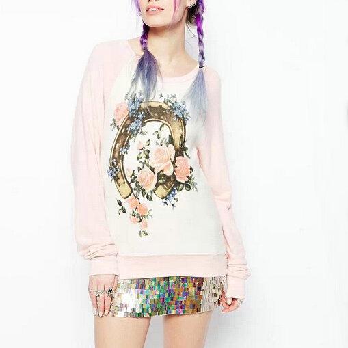 SW539 New Fashion Ladies' elegant floral print sport pink white pullover Sweatshirts Casual slim long Sleeve shirts brand Tops(China (Mainland))