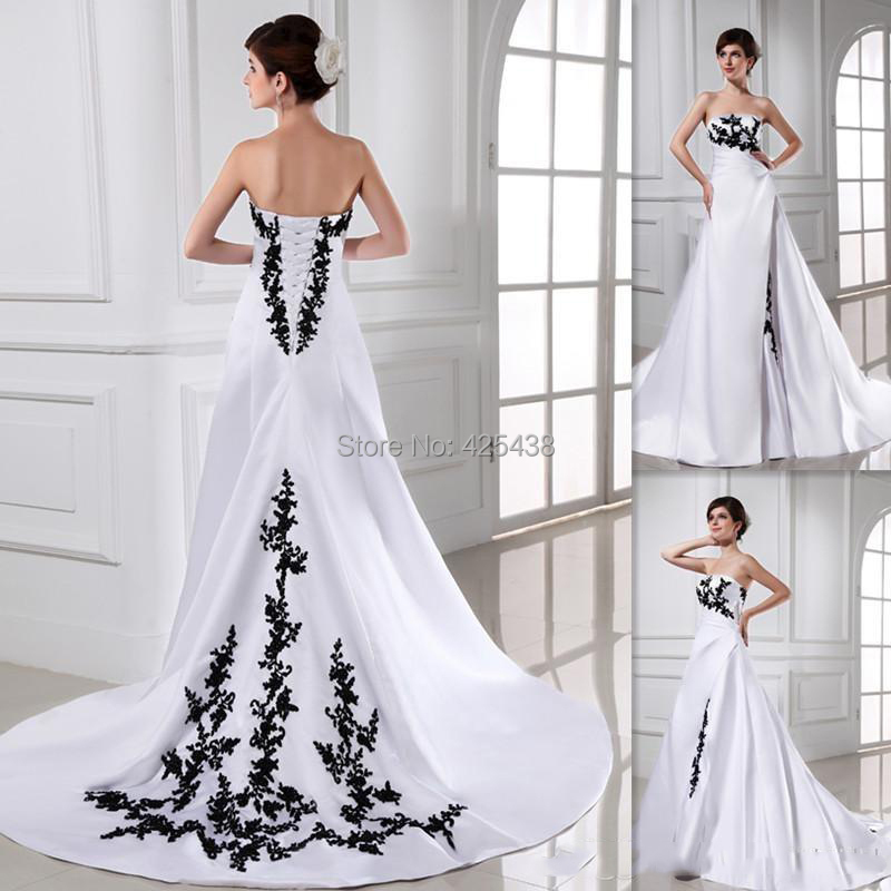 Romantic Western Cheap Bride Dress A-line Satin Sweep Train Lace Up 2015 Bridal Gowns White Black Wedding Dresses(China (Mainland))